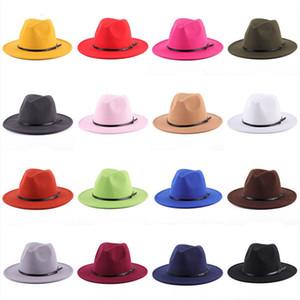 19 Farben Frauen Fedora Hut Für Gentleman Wolle Wide Krempe Jazz Church Cap Band Breite Flat Rand Hüte Stilvolle Trilby Panama Caps M2921