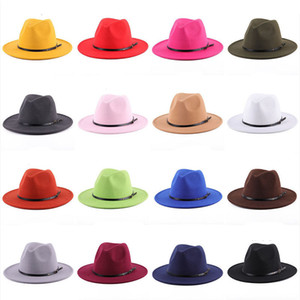 19 colori Donne Fedora Cappello per Gentleman Lavern Wide Brim Jazz Jazz Church Cap Band Band larga Cappelli da Brim Elegante Trilby Panama Caps M2921
