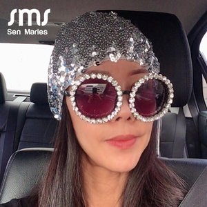 Sunglasses Luxury Oversize Round Women Handmake Rhinestones Sun Glasses Fashion Colorful Men Shades For Female Oculos