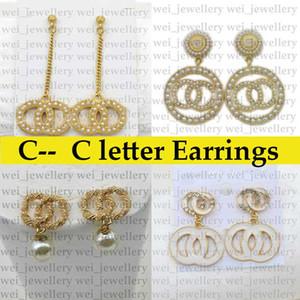 Orecchini di design di lettera c di alta qualità per le donne moda strass perla perla orecchino orecchino gioielli regali all'ingrosso dell'oro