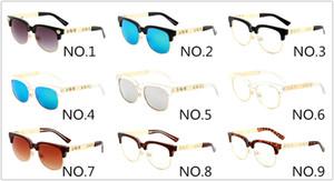 2166 Sonnenbrille Retro-rundes Feld Gläser klassische Marken-Designer-Sonnenbrillen Männer Frauen Fahren UV400 Metallhalbrahmen