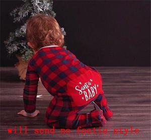 6-24 Mois de Noël Plaid Romper SANTA salopette de bébé nouveau-né Les bébés Combishort Pantalons bébé garçon layette; Une Piece Noël Pyjama LY11021