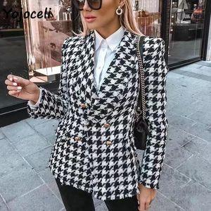 Yojoceli 2020 autumn winter plaid tweed blazer coat elegant breasted outerwear coats streetwear