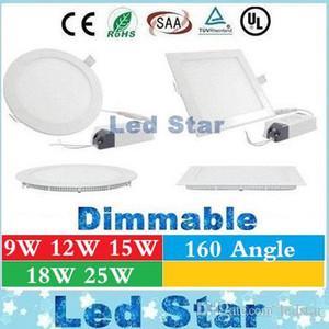 Dimmable LED Down Lights Panneau Lumières 9W 12W 15W 18W 25W LED LED Lumières encastrées Downlights Lampe de plafond AC 85-265V + CE UL