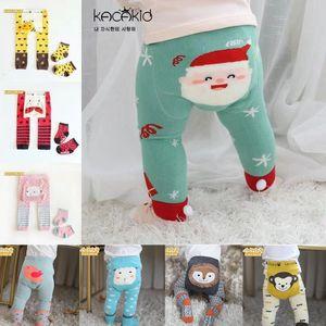 Kacakid Quality Insin Tastics Pure Algodón Dibujos animados de Navidad Mono Leggings Bebé Leggings Elástico Algodón Soft Tamdler PP Pantals + Conjunto de calcetines