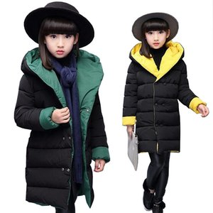 Baby girls clothes 3-15T kids winter warm jacket teenage Double-sided wear down cotton coat children hooded coat baby snow suit Y200831