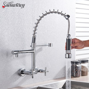 Wall-Mounted Spring Basin Kitchen Faucet Pull-Down Hot And Cold Kitchen Sink Mixer Selection Kitchen Tap Sink Mixer Chrome style T200424
