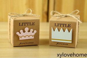 Vintage Kraft Paper Gift Box Little Prince Princess Birthday Wedding Party Candy Box Favors handmade Gift Wrap foldable boxes with Crown
