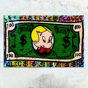 Rich kids collection Alec Monopoly Graffiti Home Decor Handpainted &HD Print Oil Painting On Canvas Wall Art Canvas Pictures 201009