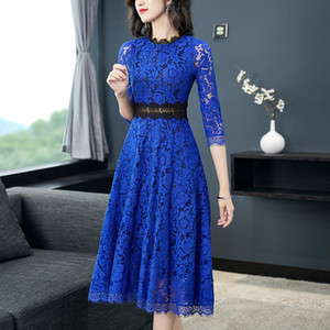 Runway Crochet Hollow Out Lace Dress New Autumn Women Fashion Three Quarter Sleeve Slim Waist Casual Party Midi Dress