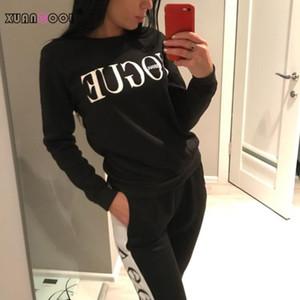 XuanCool Novo 2020 Mulheres 2 Peça Conjunto de Roupas Casuais Vogue Moda + Calças Longas Tracksuit para Mulheres Hoodie Terno
