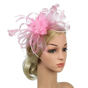 Women Bowknot Feather Mesh Gift Fedoras Wedding Cocktail Party Hat Banquet Bridal Day Fascinator Headband