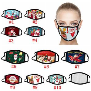 Máscaras Máscaras de Navidad Fiesta de Navidad del polvo anti niebla transpirable lavable reutilizable del copo de nieve de Santa Claus muñeco de nieve Impreso boca cubierta RRA3674