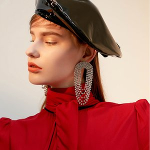Hiphop Multi Crystal Tassel Earrings for Women Statement Earring Female Bridal Brincos Wedding Jewelry Chain Pendant 2020