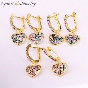 10 pares ZYZ339-1294 Coração Dangle Brinco Ouro / Cor Prata Moda Elegância Jóias Arco-íris Zircônia Charming Cz Jóias
