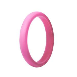 Kadınlar için Silikon Düğün Rings köpüklü 7 renkli paketi metalik, İnce Kauçuk Alyans istiflenebilir Yüzük FDA Silikon 2.7mm