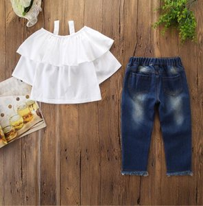 Baby Girl Clothing Set White Condole Top+ Jeans Broken Hole Pants 2pcs Kids Fashion Outfits Toddler Girls Clothes