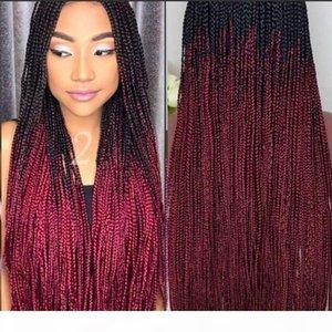 طويل اليدوية مربع الضفائر الباروكة الدانتيل الجبهة الدانتيل الصغرى أومبير الأحمر الاصطناعية الشعر الباروكة ل أفريقيا للنساء السود