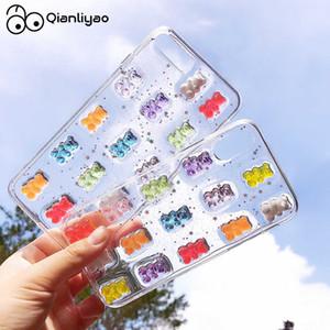 Qianliyao bonito 3d doces cores urso case para telefone x xs xr 8 7 6 6 s mais 11 12 pro max se 2020 glitter macio capa