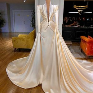 Luxury Evening Dresses With Detachable Train Satin Beading Long Sleeve Prom Gowns Mermaid Women Robes Customize Formal Party Dress