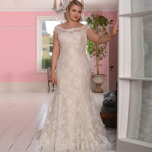 Plus Size Wedding Dresses Lace Vestidos de Novia Scoop Neck Sleeveless Backless Bridal Gowns Robe De Mariage