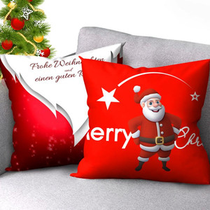 Christmas Pillow Covers Decorative Santa Claus with Xmas Hat Printed Throw Pillows for Living Room Sofa Chair Cushion Cover