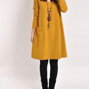 2019 ilkbahar büyük sonbahar yeni Kore tarzı artı yağ ve boyut kadın uzun uzun etek etek kollu gevşek orta boy elbise ince orta uzunlukta aZ0CF