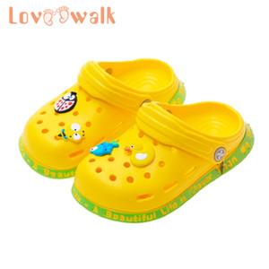 GOBEWAlk Bebek Çocuk Croc Ayakkabı Yaz Karikatür Plaj Yüzme Ayakkabı Erkek Kız Yumuşak Kaymaz Kapalı Yürüyor Çocuk Terlik Q0112