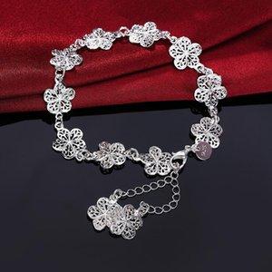 Nueva llegada hermosa pulsera noble cadena de flores moda boda fiesta plata linda dama agradable mujeres pulsera joyería lh013 h sqclki