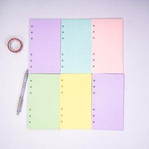 5 ألوان A6 فضفاض ورقة ورقة دفتر الملء دوامة الموثق مؤشر حشو ورق الصفحات الداخلية اليومية مخطط ورقة القرطاسية 389 N2