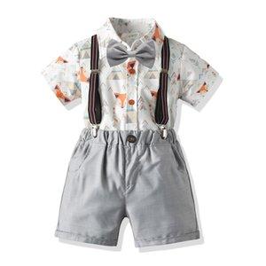 ins cross-border boy baby summer cartoon short-sleeved shirt bib gentleman four-piece suit children's dress suit children's suit