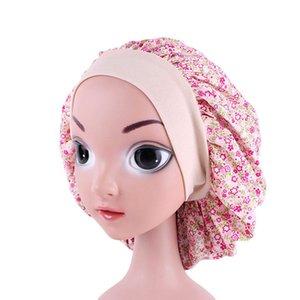 New Fashion Kids Floral Dot Print Cotton Bonnet Children Night Sleep Cap Hair Care Soft Hat Head Cover