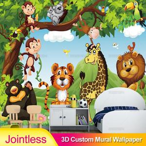 Jointless Custom Mural Wallpaper 3D Cartoon Animal World Children Kids Bedroom Backdrop Wall Painting Eco-Friendly Wallpaper