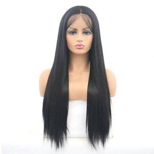 2021 Moda Moda Avrupa ve Amerikan Düz Saç Peruk Dantel Peruk Siyah Uzun Saç Düz Saç Tam Kapak Dantel Seti