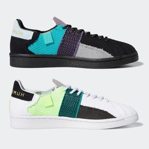 Sale nmd human race Pharrell Williams x Superstar mens Casual shoes Cloud White Core Black men women platform trainers sports sneakers