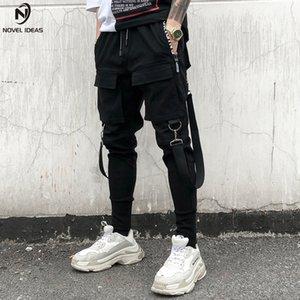 Romance ideas jasgador calça homens multi bolso elástico cintura design calça punk hip hop casual calças casuais macho dançando calça