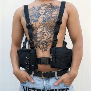 2019 New Men Tactical Functional Vest Hip-Hop Streetwear Harness Chest Rig Bag Unisex Oxford Two Pockets Women Waist Fanny Pack