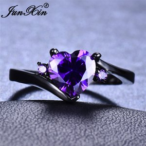 Rainbow Zircon Heart Rings For Women White Gold Black Gold Filled Purple Blue White Blue Fire Opal Ring Female Wedding CZ