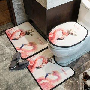 Alto grado Flamigo Aseo cubiertas del asiento personalidad de la manera Impreso Inicio Mat moda de tres piezas estera del tocador Palo