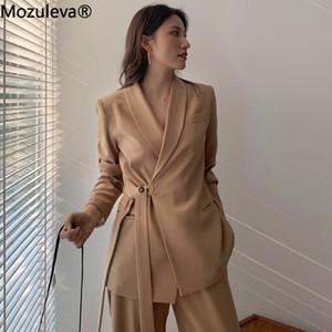 Mozuleva Vintage Two Pieces Set Women Blazer Set Lace Up Notched Blazer & Loose Pant Women Pant Suits Female Trouser Suit 200930