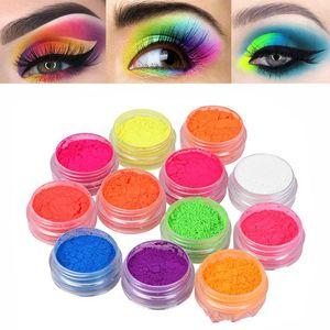Hot Sale 12 Pcs set Fluorescence Power Eyeshadow Makeup Long Lasting Pigment Eyeshadow Nail Glitter Powder Waterproof Eye Shadow Cosmetics