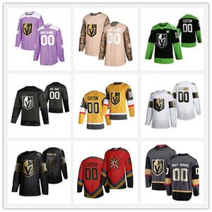 Hommes Femmes Enfants Couverte cousu Adlads Vegas Golden Knights # 29 Fleury # 81 Marchessault # 71 Karlsson # 88 Jersey de hockey gris Schmidt Green Green Green Green Hockey