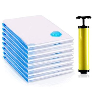 Vacuum Bag, 6 Pack Vacuum Bag Clothes include Air Pump for travel, Perfect for clothes, bed linen, down jackets, towels,