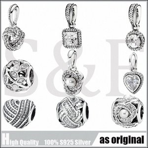 New Mother's day pave love knot beads with cz 925 sterling silver beads Suitable for Style Charm Bracelets & Necklaces Cs1B#