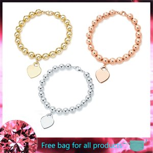 Hot Sale LOVE Heart 8mm Bead Bracelets Bangles S925 Sterling Silver Jewelry for Women Girl Ladies Valentine GIFT