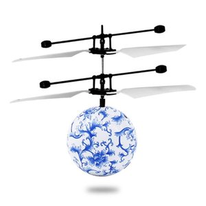 LED Remote Control Ball Flying RC Drone Helicopter Infrared Induction Mini Aircraft With Porcelain Ball Lighting Toy For Kids
