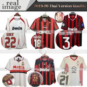 Milan 90 91 Chemises rétro Accueil 96 97 Gullit Soccer Jersey 02 03 04 Maldini Van Basten Football Ronaldo Kaka Inzaghi AC 06 07 2009 Shevchenko