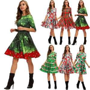 Christmas Women XMAS Dress Retro Elegant Women Long Sleeve Cats Print Vintage Christmas Evening Party Flare Dress 5 Styles