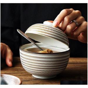 Zen Spirit Bol japonais avec couvercle pour la soupe de nouilles de riz Vintage sous-allongée Bols céramiques à la main Stew tuture Jllcqa DayUpShop