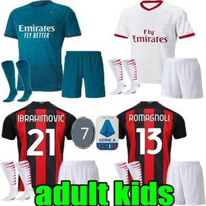 kids AC 2020 2021 milan IBRAHIMOVIC child soccer jerseys Set 19 20 21 THEO REBIC PIATEK PAQUETA football shirts men boy kits uniforms